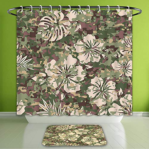 Waterproof Shower Curtain and Bath Rug Set Camo Aloha Hawaiian Tropical Jungle Forest Hibiscus Flowers Leaves Nature Baby Pink Green Dark Bath Curtain and Doormat Suit for Bathroom 66