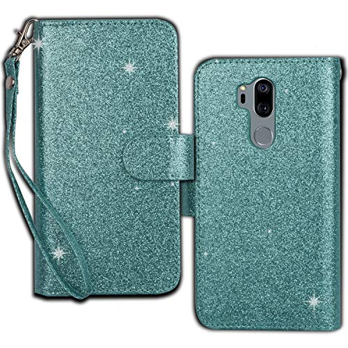 Ymhxcy LG G7 Wallet Case, LG G7 ThinQ Phone Case,PU Leather [9 Card Slots][Detachable][Kickstand] Phone Case & Wrist Lanyard LG G7-PT Mint by Ymhxcy (Image #2)