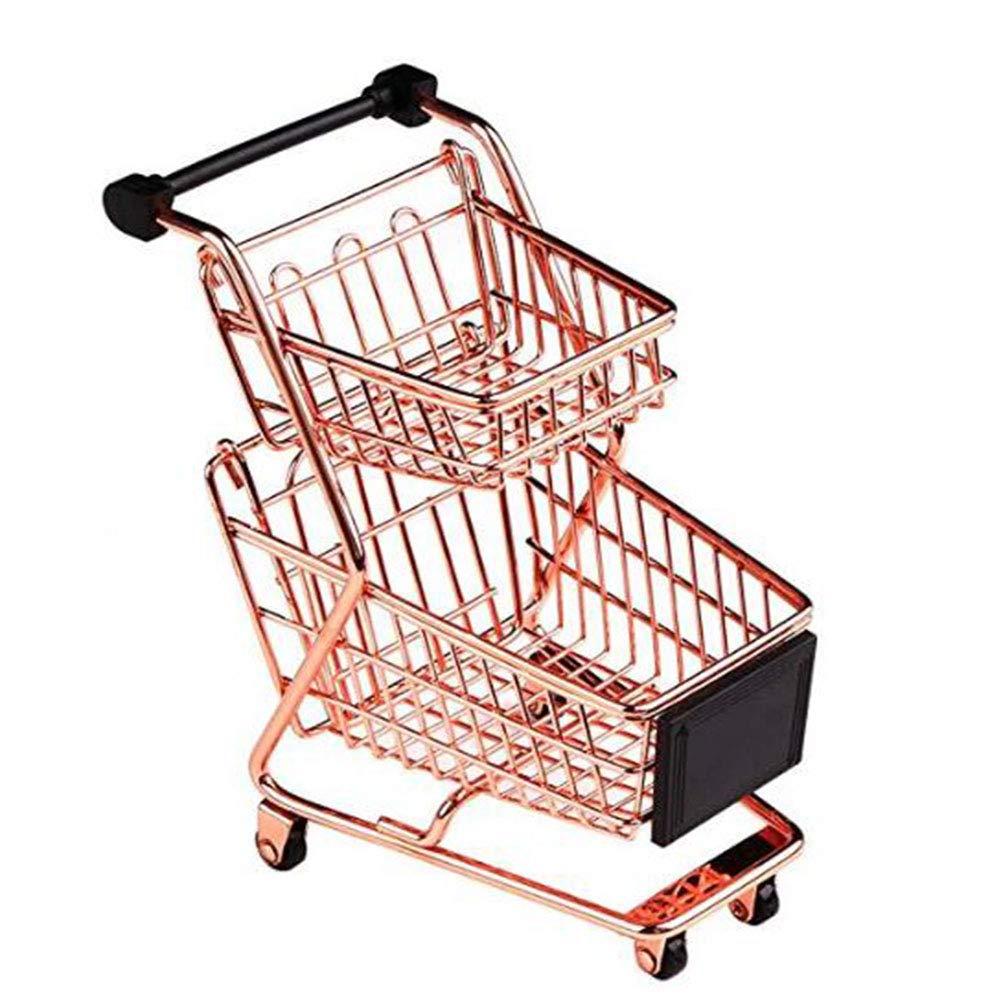 BLANCHO BEDDING Mini Double Decker Shopping Cart Toy Supermarket Handcart, Desktop Storage, Rose Gold #27 by BLANCHO BEDDING