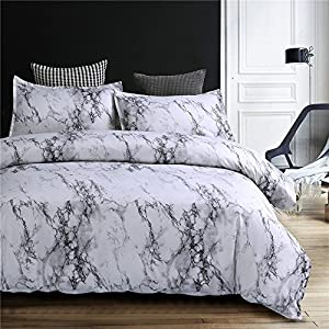 NTBED Marble Pattern Duvet Cover Queen 3 Pieces(1 Duvet Cover +2 Pillowcases),Microfiber Quilt Cover Printed Bedding Sets(90''x90'')