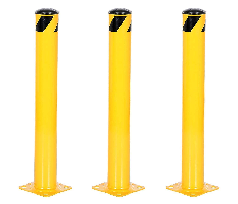 Vestil BOL-36-4.5 Yellow Powder Coat Pipe Safety Bollard, Steel, 4-1/2'' OD, 36'' Height (Pack of 3) by Vestil