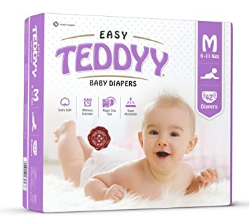 Teddyy Easy Baby Medium Size Diaper (42 Count) Taped Diapers at amazon