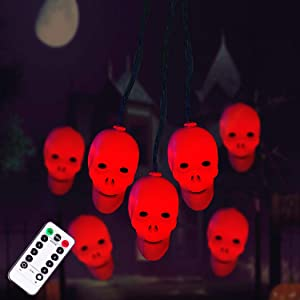 Halloween Decorations Skeleton Skull String Lights, 30LEDs Spooky Lights Battery Operated for Halloween Indoor Outdoor, Halloween Party, Haunted House Decoration (Red)