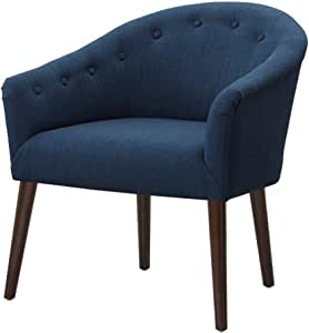 Madison Park Monroe Accent Chairs - Hand Carving Birch Wood Frame Deep Seat Bedroom Lounge Modern Classic Camel Back Style Living Room Sofa Furniture, Blue