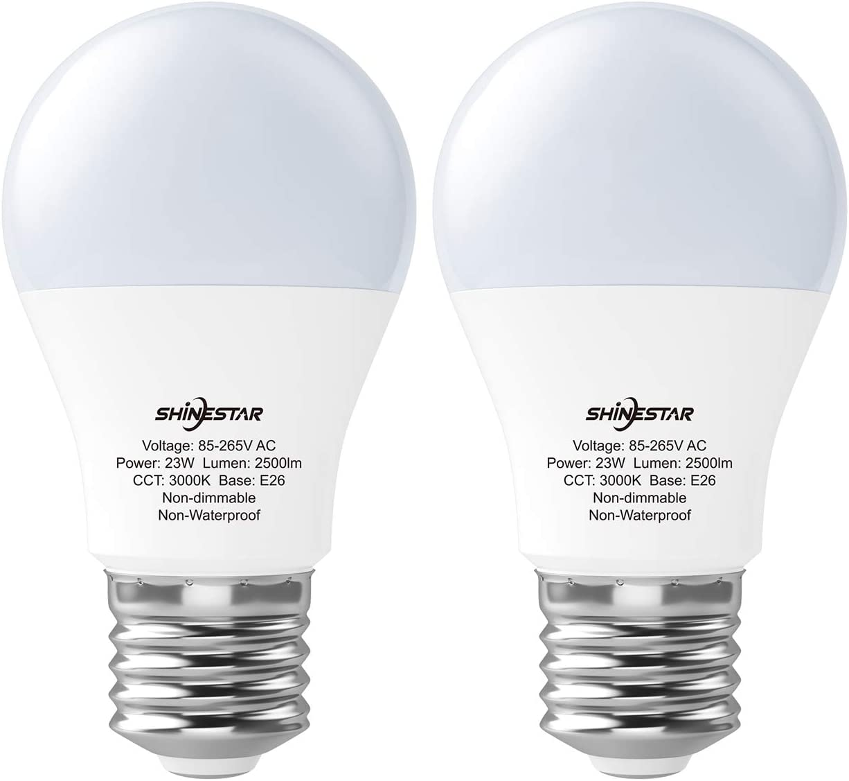 2-Pack A21 150W LED Bulbs, 3000K Soft White LED Light Bulb 23W, E26 Medium Base, Non-dimmable, Not-Intelligent