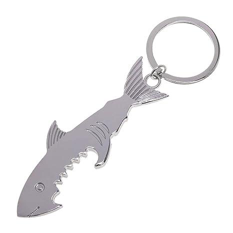 Llavero abrebotellas con forma de tiburón, aleación de zinc ...