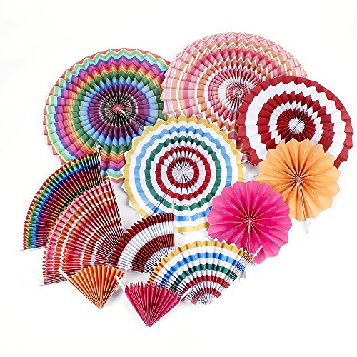 ZOOYOO Hanging Paper Fans Rainbow Sets For Party Supplies Wedding (Rainbow Fan)
