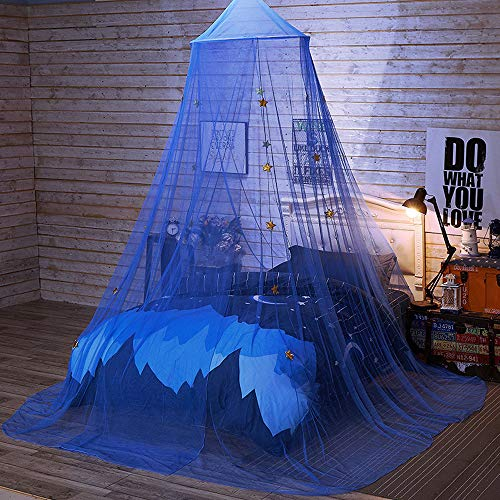 Princess Canopy for Girls & Kids Room Decor, Bed Baby Crib Netting Curtains with Round Dome, Twinkle Star Mosquito Net, Play Tent Bedding Hanging House Decoration Reading Corner for Indoor, Outdoor