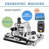 3 AXIS 800W 6040 Desktop CNC Router 3D Engraving Drilling Milling Machine 110V with 1605 Ball Screw and 1.5KW VFD