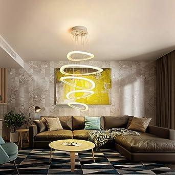 Delicieux LED Pendelleuchte Wohnzimmer Hängeleuchte Höhenverstellbar Modern Design 5  Ringe Pendellampe Kronleuchter Wohnung Treppenhaus Leuchte Büro Bar Halle  Lampe ...