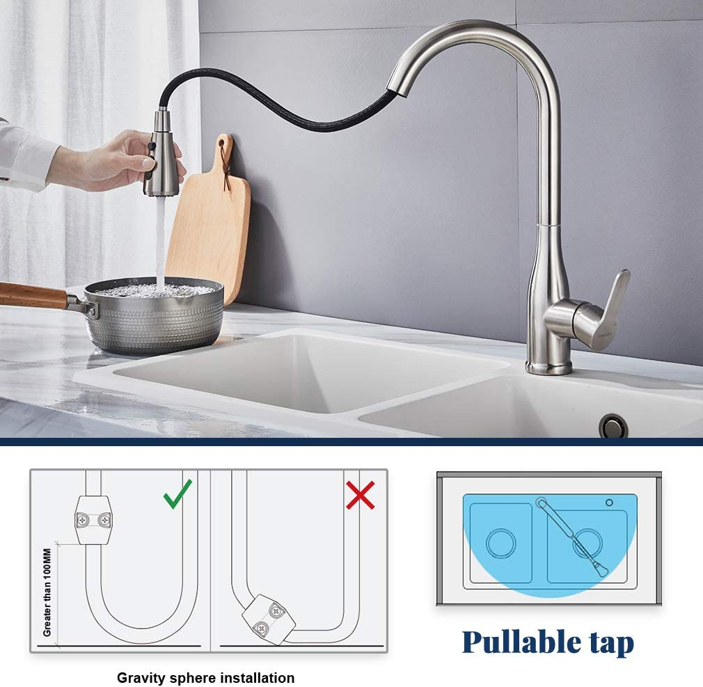 Küchenarmatur Mischbatterie Armatur Spiralfederarmatur LED ORB Wasserhahn Küche
