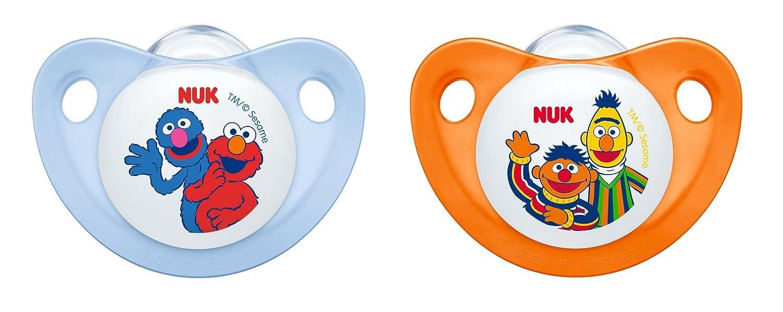 NUK 10177046 Trendline Barrio Sésamo - Chupete (se adapta a la mandíbula, tetina de silicona de tamaño 3, 18-36 meses, sin BPA, 2 unidades)