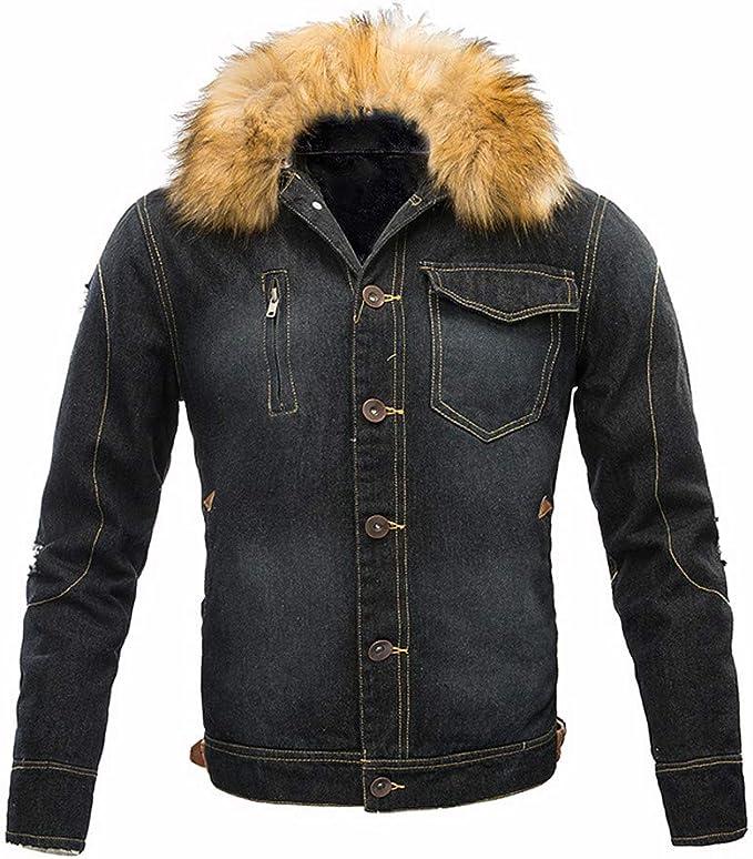 Chenang Herren Herbst und Winter Plus Samt Denim Jacke schwarz Jeansjacke Herren Winter Denim Jacket Gefütterte Jeans Jacke mit Fell Mantel Warme