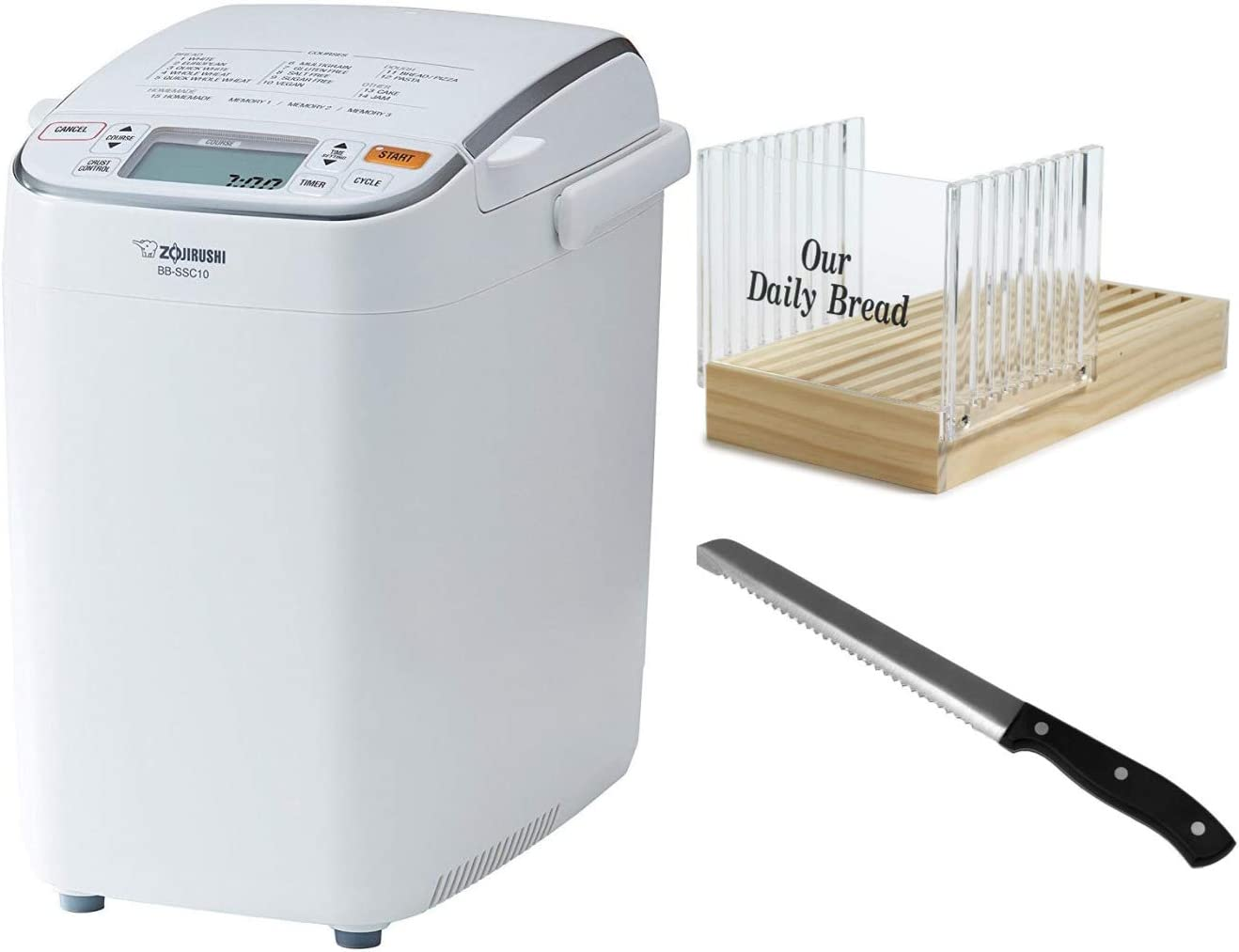 Zojirushi BB-SSC10 Home Bakery Maestro Breadmaker with Bread Slicer and 8-Inch Stainless Steel Bread Knife Bundle (3 Items)