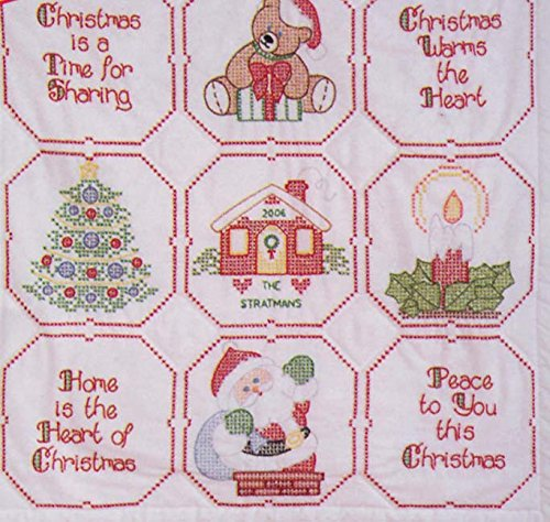 Jack Dempsey Stamped White Wall Or Lap Quilt 36X36, Christmas Blessing Notions - In Network 50944