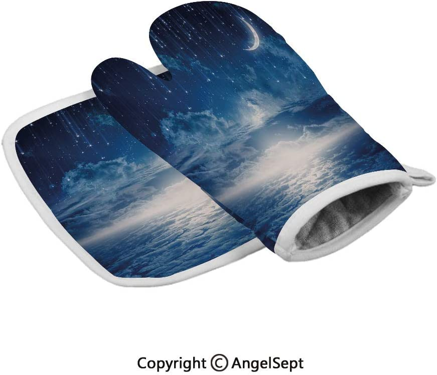 Nocturnal Sky Full Moon Clouds Star Rain Crescent Lunar,Polyster Oven Mitts+Insulated Square Mat,Dark Blue Light Blue and White,Heat Resistant Kitchen Gloves