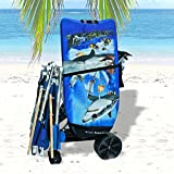 Wonder Wheeler Beach Cart - Easy Roll Ultra Wide Wheels - Silver Mist Frame