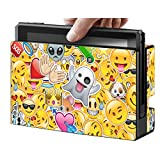 Protective Skins Stickers Cover for Nintendo Switch Console and Gray(Red, Blue)Joy con - Vinyl Decals Protector Set for Switch - Emoji