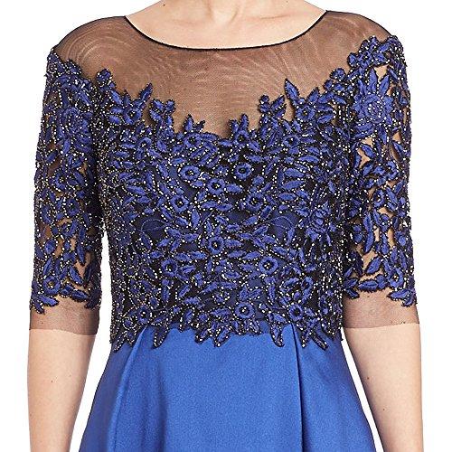 Teri Jon Embellished Beaded Lace Taffeta Evening Gown Dress