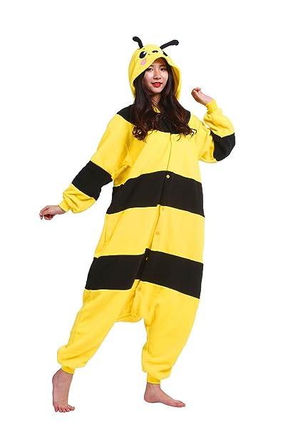 Hstyle Unisex Adulto Mamelucos De Dibujos Animados Pijamas, Disfraces De Halloween Trajes De Ropa De Dormir De La Abeja: Amazon.es: Ropa y accesorios
