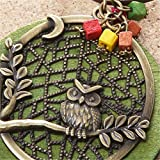 Mrsrui Green Wood Tree Owl Leather Sweater Necklace