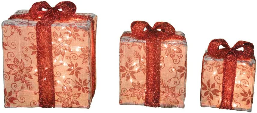 Lighted Burlap Floral Christmas Gift Boxes Presents Outdoor Christmas Decoration Set of 3