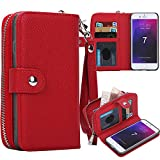 iPhone 8 Case, iPhone 7 Zipper Wallet Case, Pasonomi PU Leather Protective Shell Detachable Folio Flip Holster Carrying Case with Strap and Card Holder for iPhone 8 (2017) / iPhone 7 (2016) (Red)