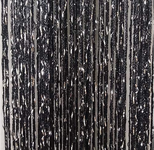 ave split Decorative Door String Curtain Wall Panel Fringe Window Panel Drapes Room Divider Blind Divider Tassel Screen Home 100cm200cm (black1)