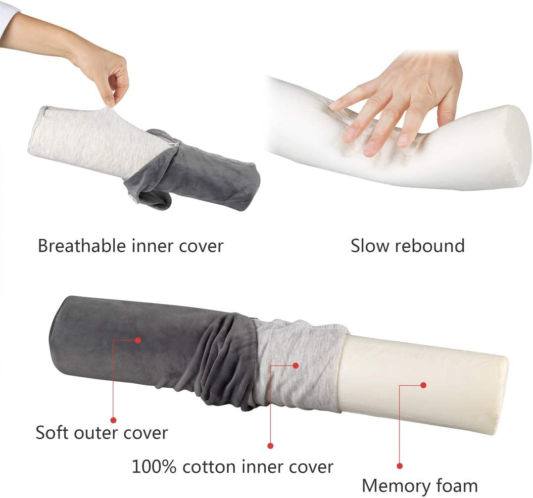 uxcell Soft Round Memory Foam Pillow Cervical Roll Bolster Neck Head Support Pillow Lumbar Bolster Leg Spacer with Washable Flannel Cover 38cm X 8cm Dark Blue 15inches X 3inches