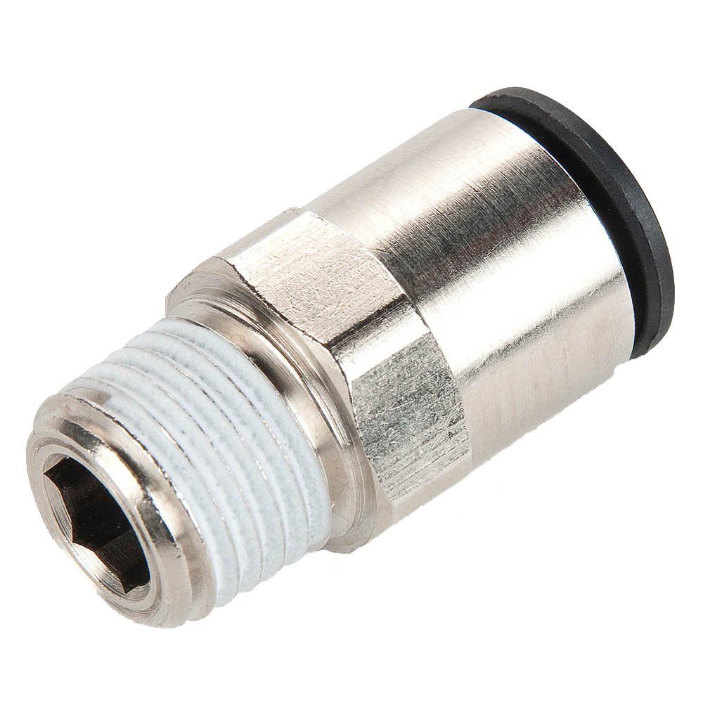 Parker W68LF-2-4-pk20 Prestolok PLP Push-to-Connect Nickel Plated Instant Fitting, Tube to Pipe, Nickel Plated Brass, Push-to-Connect and Male Pipe Connector, 1/8'' and 1/4'' (Pack of 20)
