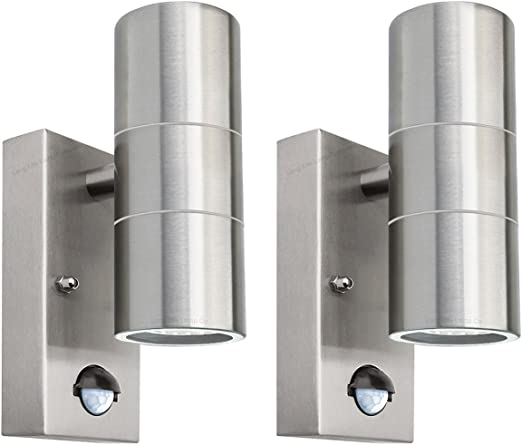 1x Stainless Steel IP44 Up /& Down Outdoor PIR Motion Sensor Security Wall Light