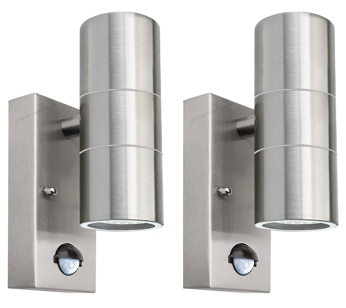 2 X PIR Stainless Steel Double Outdoor Wall Light With Movement Sensor IP44 Up/Down Outdoor Wall Light ZLC08DSEN2P Long Life Lamp Company