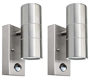 2 X PIR Stainless Steel Double Outdoor Wall Light With Movement Sensor IP44  Up/Down