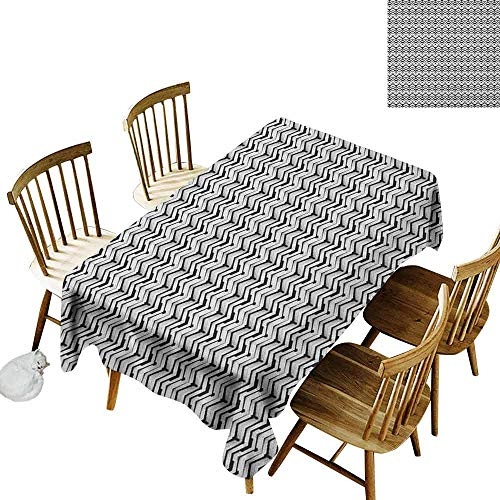 - DONEECKL Abstract Wrinkle Free Tablecloth Indoor and Outdoor Tablecloth Monochrome Chevron Pattern with Geometric Elements Roof Tile Three Dimensional Black White W60 xL102