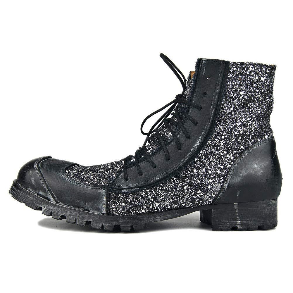 Jiahe Große Größe Martin Stiefel Männer Arbeitsstiefel Geschnürt Schuhe Flut Schuhe Niedrigen Absatz Stiefel Motorrad Schuhe Punk Lässige Cowboystiefel,schwarz,US7.5