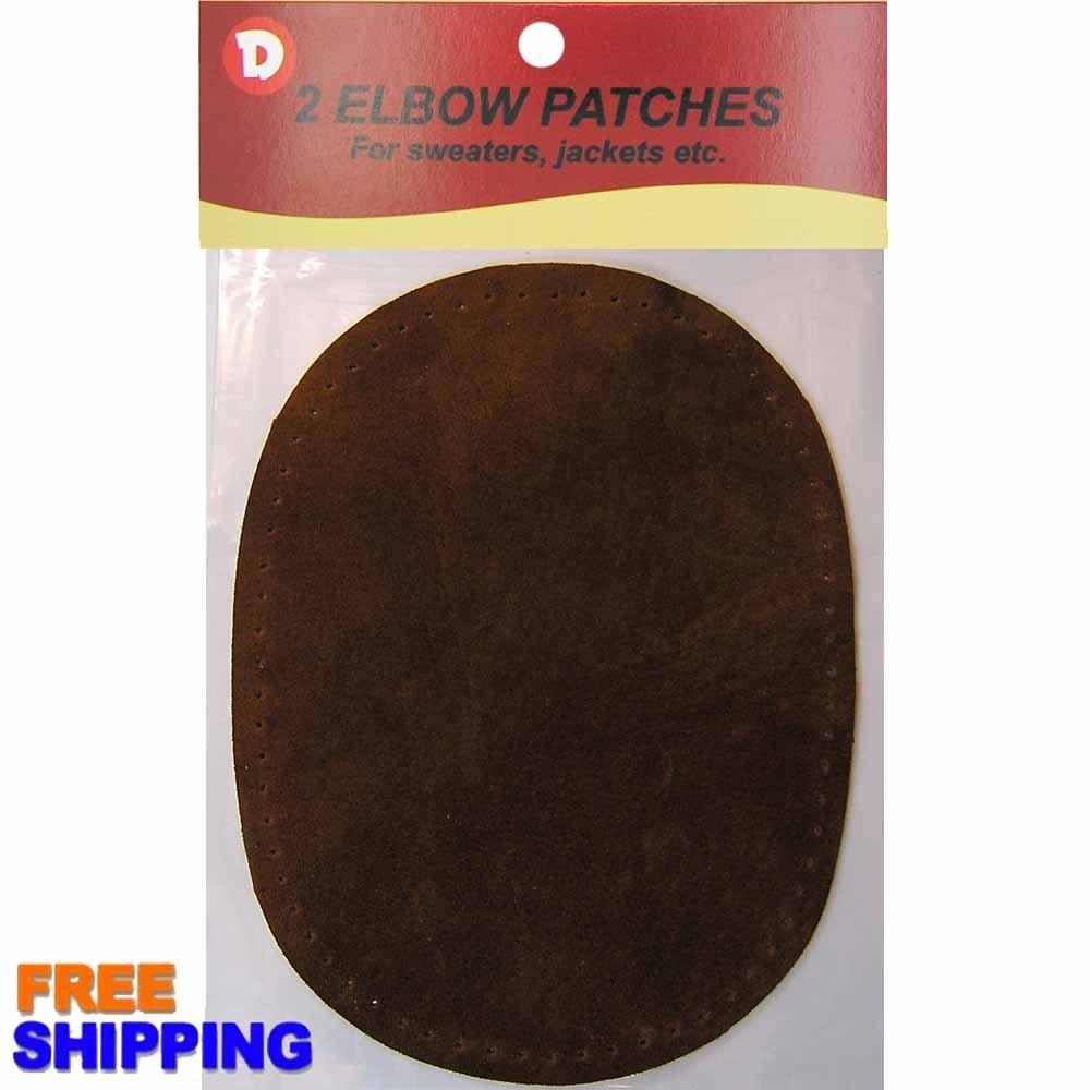 Fine Garment Suede Sew-On Elbow Patches 4.25 x 5.75 in 2/Pkg - Dark Brown Dimecrafts