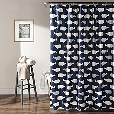 "Lush Decor Whale Shower Curtain-Fabric Ocean Fish Animal Print Design for Kids, 72"" x 72"", Navy - Lush Décor Whale shower curtain is the perfect piece for your bathroom. The design is also available in curtains, bedding and a soft Sherpa throw. Beautiful, playful print pattern of white and blue whales against a navy shower curtain - ideal for kids, adolescent or guest bathroom. Soft, 100% polyester fabric shower curtain with a unique design makes for a fun bathroom accessory. - shower-curtains, bathroom-linens, bathroom - 61mFkwH2MKL. SS400  -"