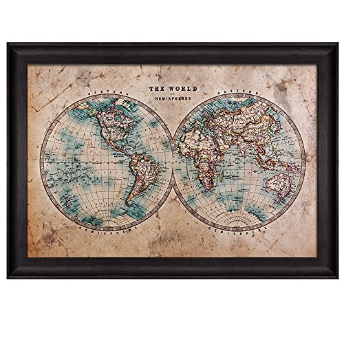 Wall26 - Antique Hemisphere Map of the World - Framed Art Prints, Home Decor - 24x36 inches (Hemisphere Map)