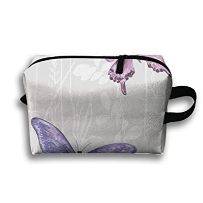 Purple Butterfly Travel Cosmetic Bags Small Makeup Clutch Pouch Cosmetic And Toiletries Organizer Bag