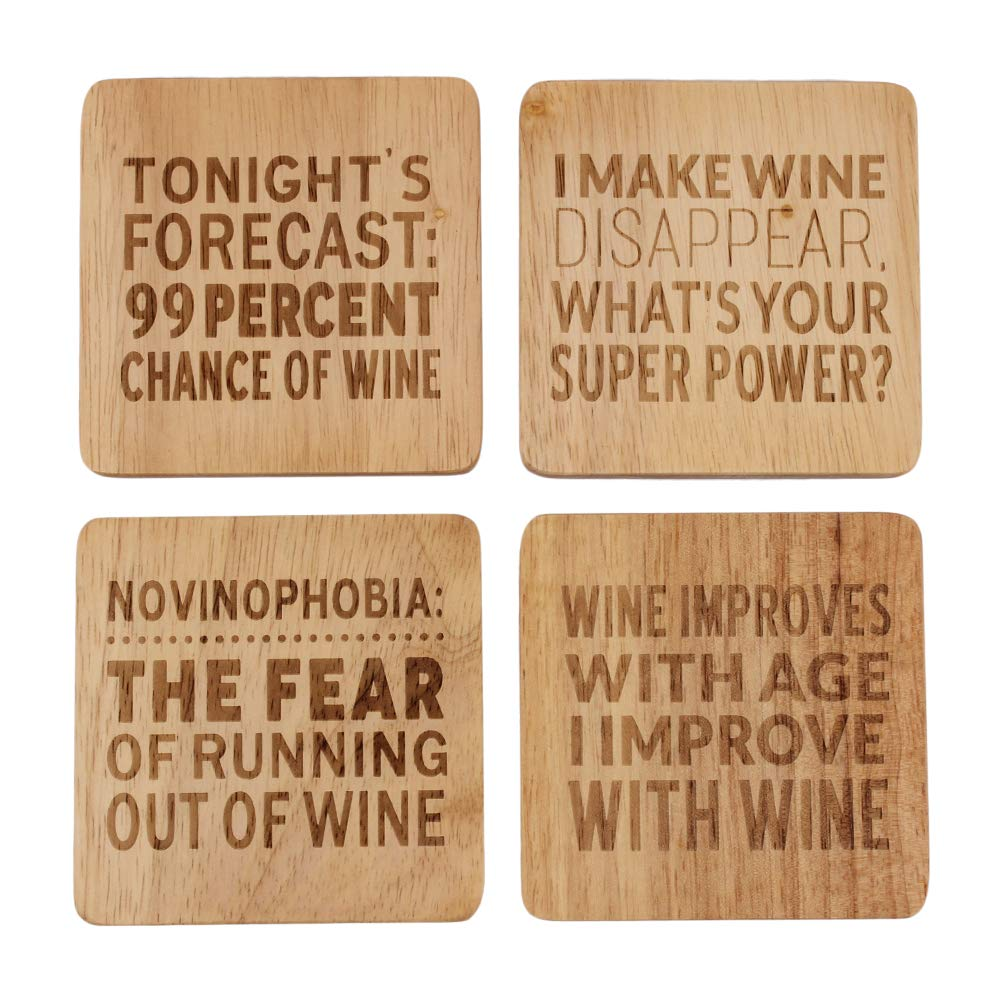 Custom Wood Coasters for Drinks - Custom Coasters - Business Logo Coasters - Personalized Wedding Gifts - Bridal Shower Gifts - Set of 4