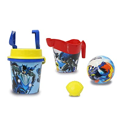 Jamara 410136 Batman Sandbucket Set 7 Pieces Officially Licensed Bucket Shovel Hand Rake Moulds Watering Can Ball Sand Sieve Blue: Toys & Games