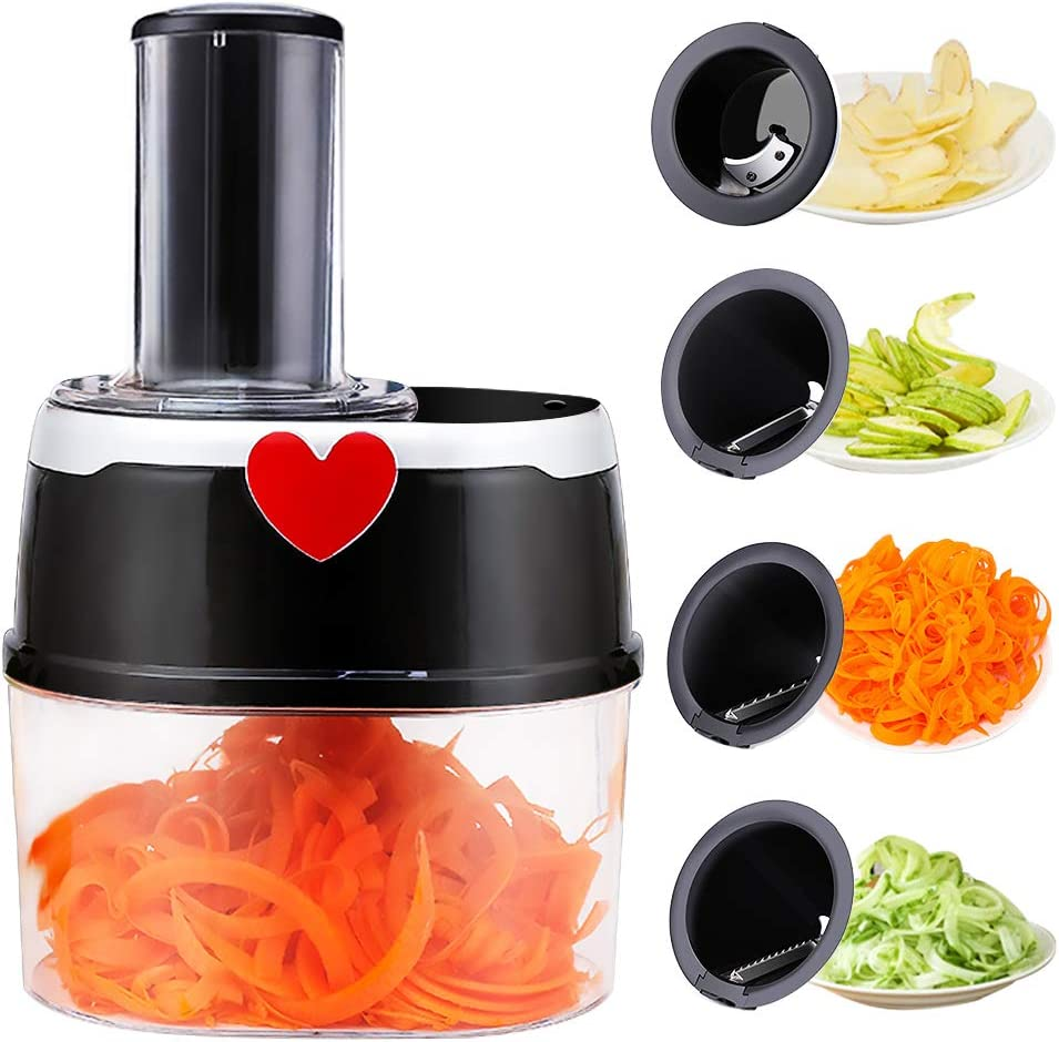 Automatic vegetable cutter Electric Spiralizer Spiral Slicer with 500 Watt Motor and 4 Stainless Steel Blades for Spiral Cutting Vegetables, Carrots, Cucumbers, Potatoes and More, 2 L
