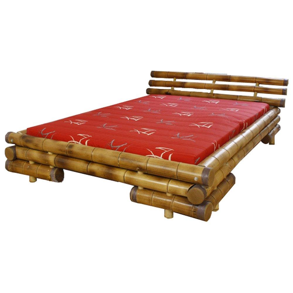 Homestyle4u Bambusbett Futonbett Bambus Bett 200 x 200 cm in braun ...
