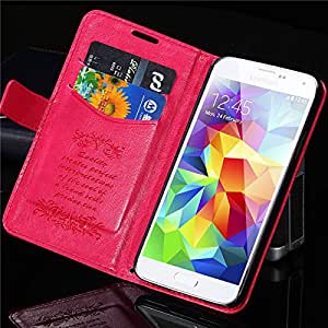 S5 Retro Flip Luxury Crazy Horse Leather Case for Samsung Galaxy S5 i9600 G900 Elegant Phone Cover Bags black Wallet Stand SV --- Color:Hot Pink