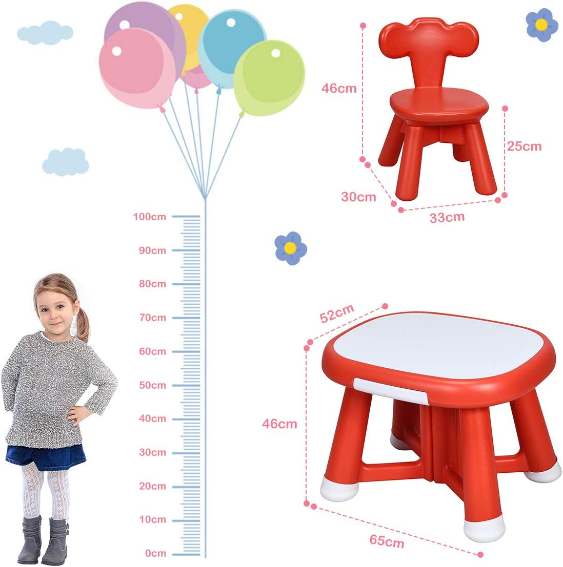 Double Side Table Red Table Set COSTWAY Kids Table Chair Set Writable and Erasable Tabletop Nursery Furniture Desk 2PCS Chairs with 2 Drawers