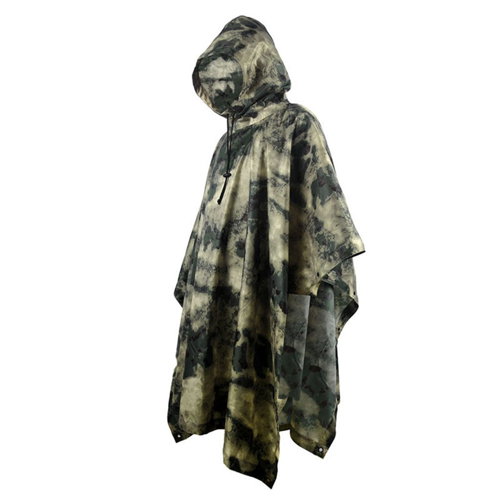 Portable Raincoat Suit Outdoor Camouflage Raincoat Jungle Maple Leaf Concealed Multi-Purpose Poncho Mat Multi-Purpose Environmental Poncho for Outdoor Walking Cycling (Color : H) by LYP-Rainwear