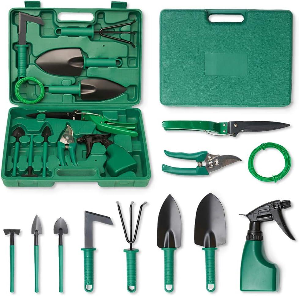 TINYFS Garden Tools Set, 11 Pieces Gardening Tools with Trowel Rake Weeder Pruner Shears Sprayer & Carrying Case, Green
