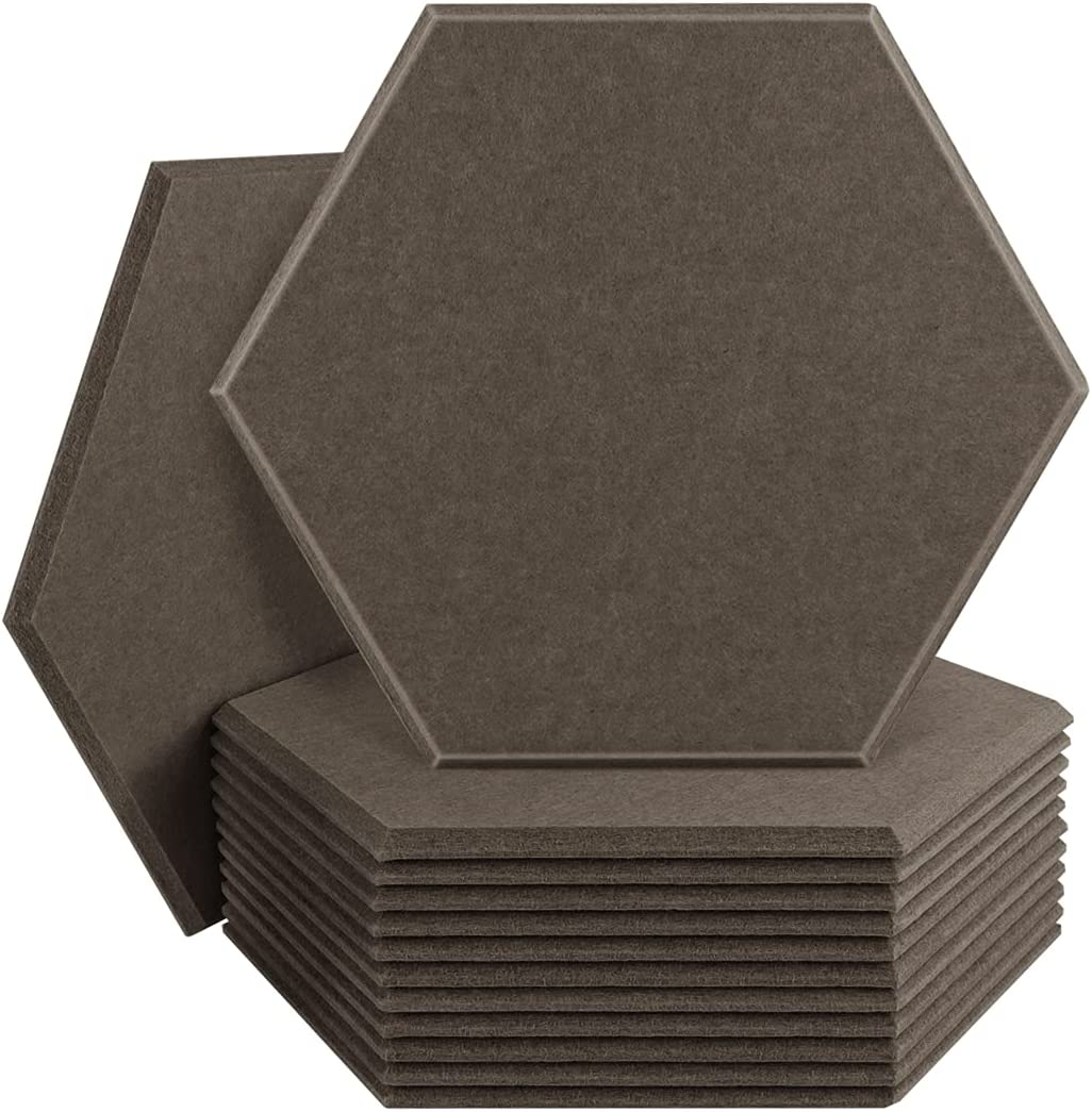 DEKIRU 12 Pack Acoustic Panels Sound Proof Padding, 14X 13 X 0.4 Inches Sound Dampening Panels Used in Home & Offices(Hexagon,Brown)