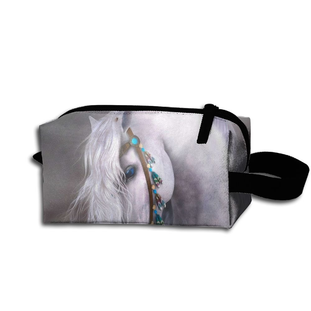Makeup Cosmetic Bag Animals Horse Art Zip Travel Portable Storage Pouch For Men Women