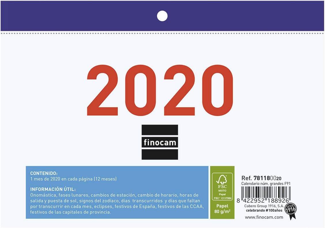 Finocam - Calendario/Faldilla 2020 Números Grandes F91 español ...